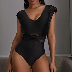 Black Rouched One Piece Swimwear
